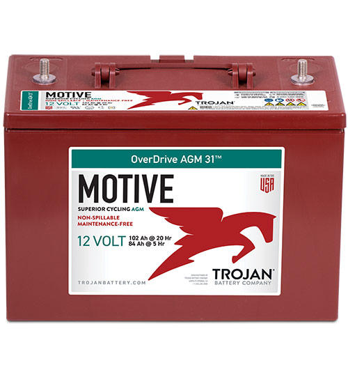 31 CYCLING AGM OVERDRIVE TROJAN BRANDED BATTERY