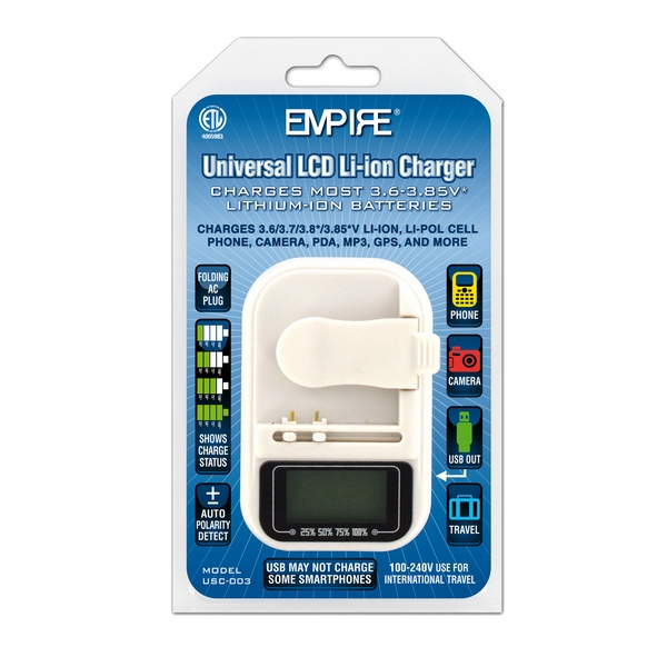 UNIVERSAL 3.6/3.7V WITH USB BATTERY CHARGER